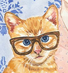 Woman Watercolor PRINT  Cat Watercolour Art by WaterInMyPaint, $32.00