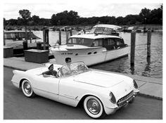 C1 Corvette with Chris Craft--1954