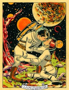Spaceman Embraces, Male Nude Figure Drawing Fine Art Erotic vintage gay comic space