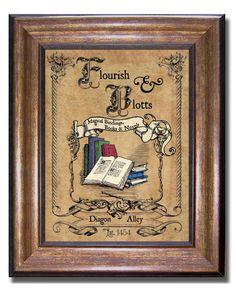 Harry Potter Flourish & Blotts Vintage Style Print Diagon
