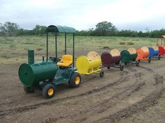 Childrens Barrel Train Cars, by S. Elkins by MillerWelds.com, via Flickr