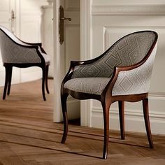An elegant silhouette traced in mahogany. The Tenley dining chair in Hawksmoor Diamond fabric. - Ralph Lauren Home Tire Furniture, Luxury Furniture, Cool Furniture, Furniture Design, Luxury Dining Chair, Dining Chairs, Murphy Bed With Sofa, Reception Table Design, Floating Chair