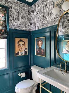Home Interior Bathroom Dramatic Powder Bathroom Makeover.Home Interior Bathroom Dramatic Powder Bathroom Makeover Modern Bathroom Decor, Chic Bathrooms, Bathroom Colors, Bathroom Interior, Small Bathroom, Modern Decor, Colorful Bathroom, Modern Victorian Decor, Bathroom Designs