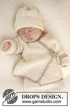 Bedtime Stories - Knitted wrap cardigan in garter st and crochet edge for baby in DROPS Baby Merino. Size premature - 4 years - Free pattern by DROPS Design Knitting For Kids, Free Knitting, Knitting Projects, Baby Knitting Patterns Free Newborn, Baby Cardigan Knitting Pattern Free, Finger Knitting, Knitting Tutorials, Newborn Crochet, Crochet Projects