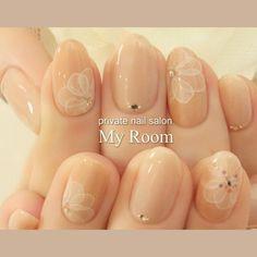 my_roomさんのネイル♪[1806217]|ネイルブック Lace Nails, Flower Nails, Bridal Nails, Wedding Nails, Nail Time, Japanese Nail Art, Nail Photos, Dream Nails, Nail Arts
