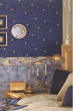 Celestial themed wallpapers for bedroom walls celestial - moon - stars - astrology - galaxy theme decorating ideas - moon stars bedroom ideas - outerspace theme bedrooms - constellation bedding - nigh Star Bedroom, Bedroom Wall, Bedroom Decor, Gold Bedroom, Modern Bedroom, Kids Bedroom, Gold Walls, Blue Walls, Cloud Decoration