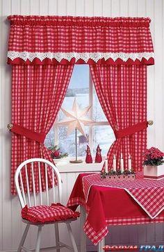 красные шторы кухни идеи - Google Search