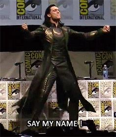 Tom Hiddleston gif - SDCC 2013.  A Hiddles scream for your pleasure.  :-D I heart him so much it hurts sometimes.