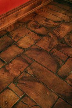 Concrete Wood Floor, Wood Block Flooring, End Grain Flooring, Paper Bag Flooring, Diy Flooring, Timber Flooring, Kitchen Flooring, Installing Tile Floor, Wood Floor Design