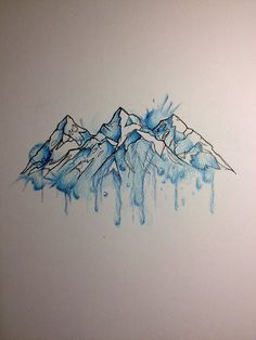 Image result for watercolor mountain tattoo                                                                                                                                                                                 More