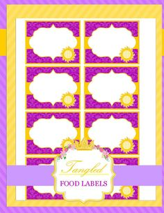 TANGLED - Food Labels - RAPUNZEL-Tangle Disney Princess - Printables - INSTANT Download -Krown Kreations on Etsy, $2.50