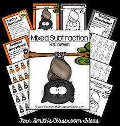 FREE Mixed Subtraction Halloween Quick Easy Center and Printable