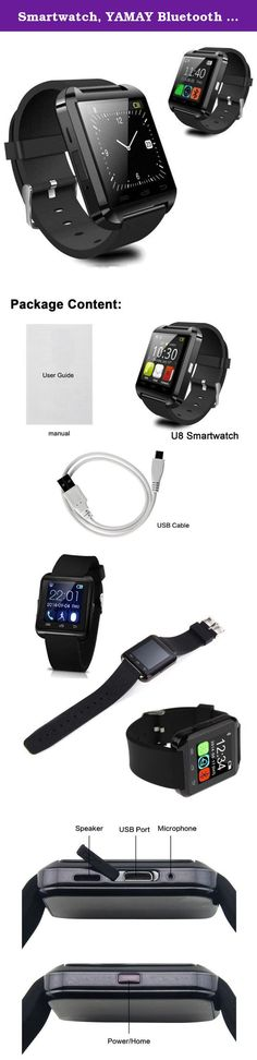 Smartwatch, YAMAY Bluetooth Smart Watch Android Wear Bracelet Band with OLED Touch Screen Fitness Activity Tracker Pedometer Compatible Phone for Women Men Exercise Running Sports Outdoor Black. Note: Only support Android APP, don't support iOS APP. Function: Pedometer, Sedentary Remind, Sleep Monitor, Un-Connection (with smartphone) Notice, Sync SMS, Answer and Dial the Phone, Viration, MP3/MP4 Music Player, Remote Camera, Find Phone, Calculator, Calendar, Stopwatch, World Time, Alarm...
