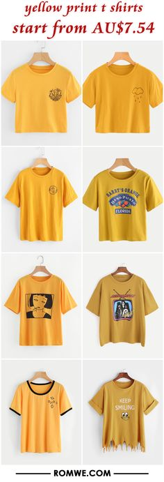 yellow print t shirts from AU$7.54