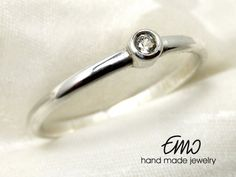 Natural White Topaz 2mm Silver Sterling Ring by Emostudio on Etsy