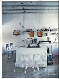 Paola Navone's summer refuge on the Greek island of Serifos (a feature in Elle Decoration, August 2010 White Kitchen Cabinets, Kitchen Dining, Kitchen Decor, Kitchen Storage, Decorating Kitchen, Design Kitchen, Kitchen Ideas, Kitchen Island, Exotic Homes