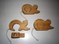Boîte à dents en bois en forme de souris