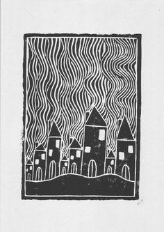 linoleum printmaking Linoleum printing on recycled cardboard 170 g / m printing by hand by . - Linoleum print on recycled cardboard 170 g / m printing by hand from self-made linoleum plate - Linoleum Print, Linoleum Block Printing, Linoleum Flooring, Linocut Prints, Art Prints, Block Prints, Lino Art, Linoprint, Chalk Pastels