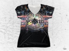 """Skydyed """"Future Lights"""" Women's V-Neck T-Shirt by Pulse Of Prophets Part of the Skydyed x Pulse Of Prophets collaboration series This piece is printed exclusive V Neck T Shirt, Street Wear, Lights, Pop, Future, How To Wear, Clothes, Fashion, Outfits"""
