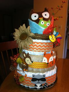 This is the diaper cake I made for my daughters Woodland Baby Shower.