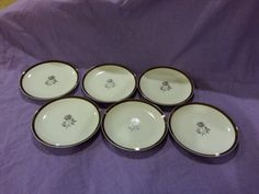 Vintage Royal Song Fine China Moonlight Rose Set of 6 Bread & Butter Plates Rare Pattern 5437-A Excellent Condition