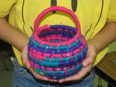 "5th grade coiled yarn basket weaving; approx. 7"" tall; lesson by art teacher: Susan Joe"