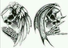 Skull Butterfly Tattoo, Evil Skull Tattoo, Evil Tattoos, Head Tattoos, Skull Tattoos, Body Art Tattoos, Sleeve Tattoos, Skull Tattoo Design, Tattoo Design Drawings