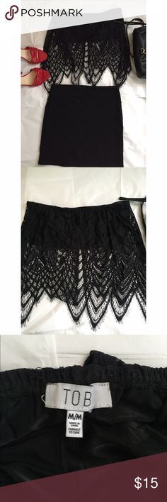 ‼️NWOT‼️ Black lace bandeau crop top ‼️NWOT‼️ never worn. Sexy black bandeau top with lace draping over it. Elastic to keep top in place, tobi brand. Size M but also fits a size S Tobi Tops Crop Tops