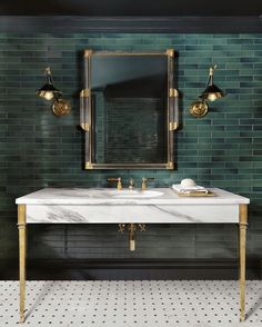 This lower level powder room was designed by Amy Stude Baker Design and resides in a beautiful chalet. It features our Hebdern Vanity, with coordinating brassware. Classic, sophisticated, and stylish ✨ 📸Alise Obrien Photography 🧱PK Construction Bathroom Inspiration, Interior Design Inspiration, Home Decor Inspiration, Interior Ideas, Art Deco Bathroom, Bathroom Lighting, Bathroom Wall, Slate Bathroom, 1920s Bathroom