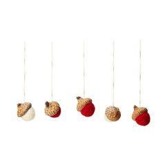 ACORN ORNAMENTS - SET OF 5 | handmade ornaments, nature, wool | UncommonGoods