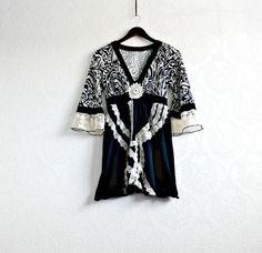Black & Cream Eco Tunic Bohemian Clothes by BrokenGhostClothing, $59.00