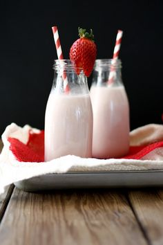 Vegan homemade strawberry milk made only with natural sweeteners. You're three ingredients closer to dessert in a glass!