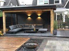 Betonwand auf der Veranda / Garten / Terrasse / Dach Concrete wall on the veranda / garden / terrace / roof, wall roof Backyard Patio Designs, Pergola Patio, Backyard Landscaping, Pergola Kits, Backyard Seating, Backyard Ideas, Pergola Designs, Pergola Ideas, Shed Patio Ideas