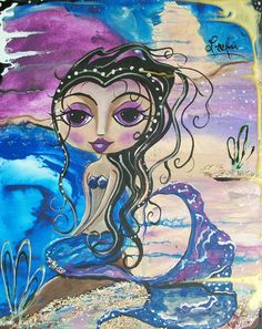 Mermaid Ocean Beach Folk art Modern painting by LoralaiOriginalArt, $13.99