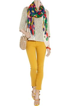 I like this entire outfit...Mustard Yellow jeans