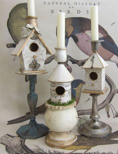 decorative bird houses ~ H did this with her little friend.  Although, I spray painted them pink and we put battery operated candles on them.