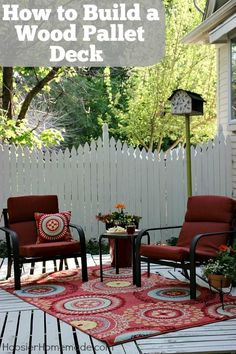 How to Build a Wood Pallet Deck : Outdoor Space   Details on HoosierHomemade.com