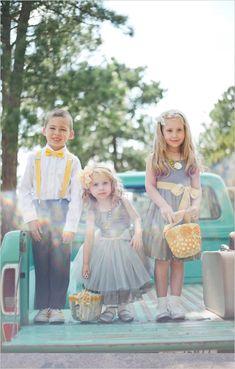 gray and yellow wedding ideas | diy wedding ideas | flower girl and ring bearer looks | #weddingchicks