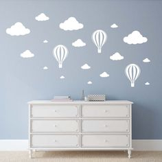 Clouds & Hot Air Balloons Kids Bedroom Wall Decal