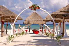 Beautiful scenery - ocean + Tiki huts: Cancun, Mexico - Sandos Caracol Eco Resort and Spa - All-Inclusive