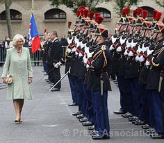 The Duchess of Cornwall inspects a guard of honour during a visit to the Garde Republicaine in Paris, May 28, 2013. Her Royal Highness visited in her role as Patron of the British Equestrian Federation.