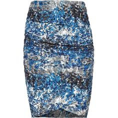 Reiss 1971 printed ruched skirt. Bee in multi blue is a bodycon stretch skirt. This pretty style is double-layered with floral lace and features ruching to the…