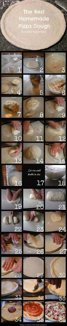 The Best Homemade Pizza Dough Tutorial--Love this recipe. When I made the pizza I used a pizza stone and cooked the pizza at 500 degrees for about minutes. This is the first pizza dough that worked perfectly for me. Pizza Recipes, Cooking Recipes, Do It Yourself Food, Best Homemade Pizza, Homemade Sauce, Tandoori Masala, Pizza Dough, Pizza Pizza, Pizza Party