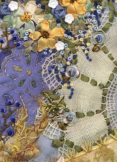 Embellishing crazy quilt blocks -- loving this!                                                                                                                                                     More