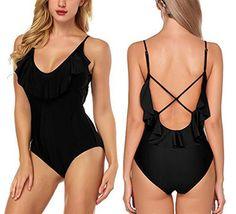 9988500532b JULNN Women's Swimsuits Fashion One Piece Halter Backless One Piece Swimwear,  One Piece Swimsuit,