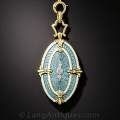 Antique Guilloche Enamel Locket and Chain - Shop for Jewelry