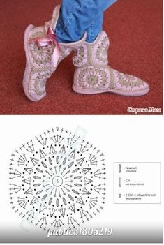 Afrikan tähti tossut virkkaus ohje hexagon crochet slippers - make a rectangle the length and the width of your feet and assemble on it 3 of these hexagons for the body of the slipper. Make to more to create a boot effect! Crochet Motifs, Crochet Diagram, Crochet Chart, Love Crochet, Crochet Granny, Crochet Stitches, Crochet Patterns, Hexagon Crochet, Crochet Boots