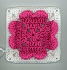 ~ 4-hearts square (ice cream  cupcakes too) ~ by Dly's Hooks and Yarns- do green for a clover!
