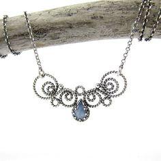 Sterling silver necklace with kianite. #silverjewelry #filigree #necklace #silverart