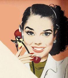 Receptionist (artwork by Jon Whitcomb) Vintage Office, Retro Vintage, Vintage Pins, Retro Illustration, Vintage Illustrations, Pulp Art, Office Art, Romance, Pin Up Art